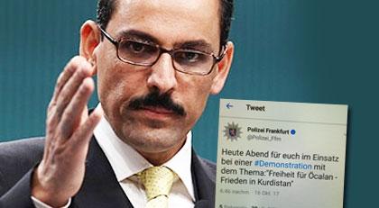 """Alman polisinin """"Öcalan'a özgürlük"""" Tweet'ine Saray'dan sert tepki"""