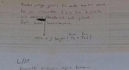 Akıncı Üssü davasında sanıklardan ele geçirilen çok ilginç not