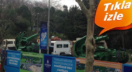 Maçka Parkı'nda TOMA'lı inşaat