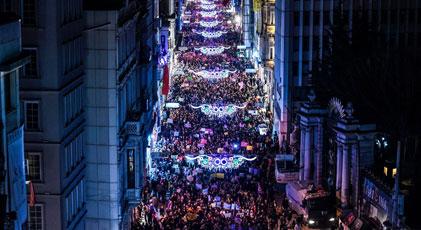 """Taksim'de """"Feminist Gece Yürüyüşü"""""""