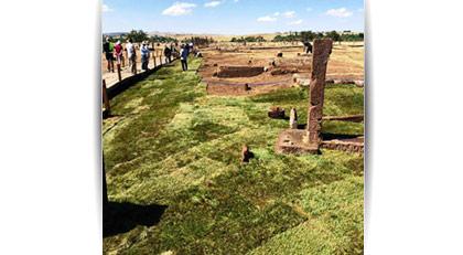 800 yıllık Selçuklu mezarlığına rulo çim döşendi