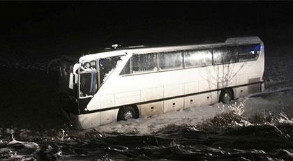 Sivasspor'un genç oyuncularını taşıyan otobüs kaza yaptı