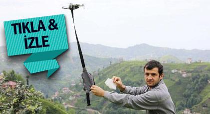 Muhtardan dronelu maske dağıtımı
