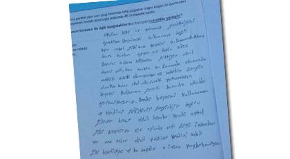 Abbas Güçlü o fotoğrafı şu sözlerle paylaştı: LGS'de fakir bir köy çocuğunun soru kitapçığına yazdıkları