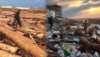 Selin ardından bu görüntüler kaldı: Denizden insan topluyorlar