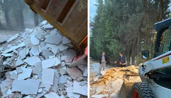 Validebağ'a şafak baskını: Belediye moloz ve kum döktü