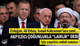 """Erdoğan, Ali Erbaş, İsmail Kahraman'lara yanıt: AKP ezici çoğunlukla """"laiklik"""" dedi"""